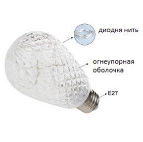 Декоративная LED лампа - Шишка RGB пластик